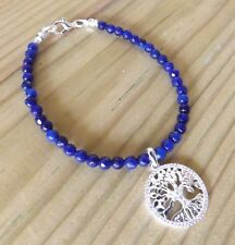 Cobalt Blue 4mm Faceted Agate Sterling Silver Tree of Life Bracelet