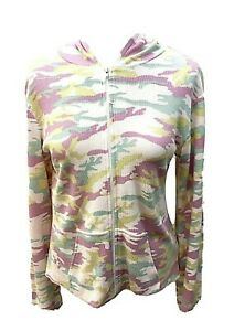 Vintage Fitigues Zip Front Hoodie Jacket Top Pink Gray Camo Sz Large Waffle Knit