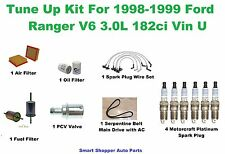 Tune Up Kit For 98-99 Ford Ranger Spark Plug Wire Set, Air Oil Fuel Filter, Belt