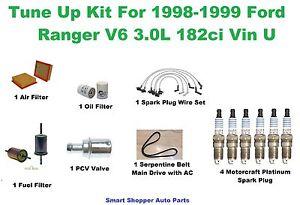 Tune Up Kit For 98-99 Ford Ranger Spark Plug Wire Set, Air Oil Fuel Filter, Belt
