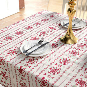 Polyester Cotton Tablecloth Snowflakes Rectangle Dining Kitchen Table Cloth
