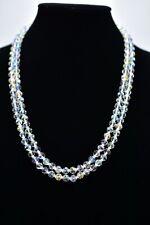 Genuine Glass Aurora Borealis Crystal Double Strand Vintage Necklace Shiny Bin2