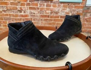 Skechers Black Suede Bikers MC Intersection Ankle Boots Bootie New