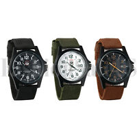 New Mens Digital Dial Quartz Analog Wrist Watch 12/24 Military Sport Army Nylon