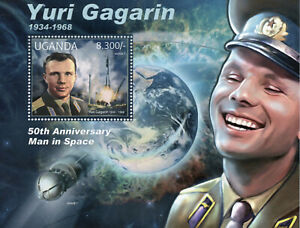 Uganda Space Stamps 2012 MNH Yuri Gagarin Famous People 1v S/S