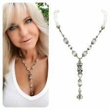 """Sterling silver """"Kinley"""" skull necklace with opal stone, Swarovski crystals"""