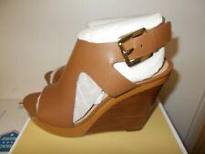 NIB Womens Luggage Michael Kors Leather Josephine Wedge Peep Toe Sandals New