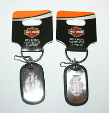 2 Brand New HARLEY DAVIDSON DOG TAG Metal & Rubber Key Chains Keychains