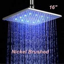 "16"" LED Square Rain Brushed Nickel Shower Head Wall/Ceiling Mounted Top Sprayer"