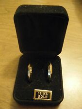 "18K 750 Yellow Gold Hoop Earrings 1"" Milor ITALY Polished Excellent Cond 2.2g"