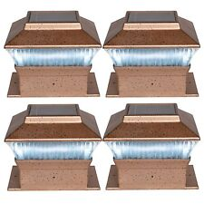 4 NEW BRONZE LED OUTDOOR GARDEN POST SOLAR POWERED DECK CAP SQUARE FENCE LIGHTS