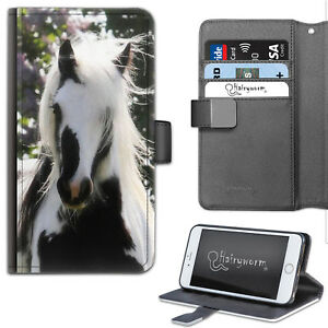 Hairyworm Black And White Horse Deluxe PU Leather Wallet Phone Case, Flip Case