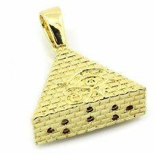 """Pyramid Pendant with 3mm 24"""" Franco Chain Men's Gold Plated Eye of Horus Egypt"""