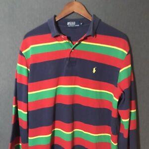 Polo Ralph Lauren Pony Color Block Long Sleeve Rugby Polo Shirt Men's M Medium