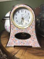Vintage Linden Floral Design Quartz Miniature Desk Shelf Table Mantle Clock