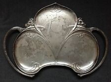 Antique WMF Art Nouveau Silver Plated  Jewel Card Tray Dish 1900 Leaf