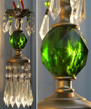 1of2 Vintage Lucite Emerald Green SWAG lamp chandelier crystal Beaded prisms