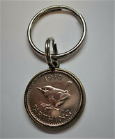 Genuine VINTAGE WW2 1939/1945 double sided Farthing key ring or pendant