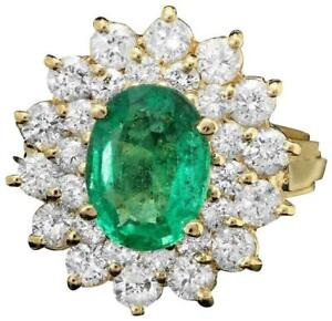 3.50Ct Natural Emerald & Diamond 14K Solid Yellow Gold Ring