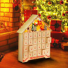 LED Battery Light Wooden Advent Calendar Christmas Xmas Wood Tradtional Calender