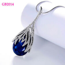 Luxury Big Waterdrop CZ Stone Pendant Necklace Long Chain Statement Jewelry Lady