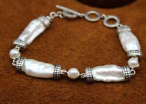"""JTV """"Baroque Cultured Pearl"""" Link Bracelet Rhodium Over Sterling Silver Toggle"""