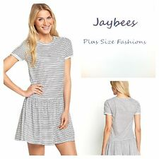 Short Sleeve Tunic Striped Plus Size Dresses for Women