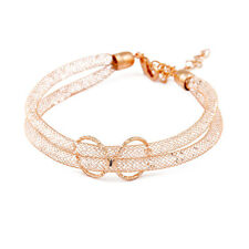 Fashion Korean Style Dual Mesh Tube Clear Crystal Woman Bracelet Jewelry Golden