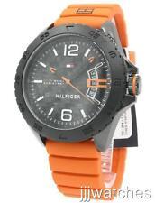 New Tommy Hilfiger Cody Orange Rubber Band Date Men Watch 47mm 1791205 $135