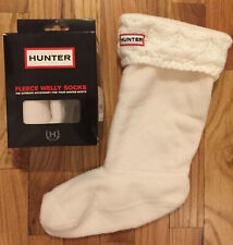 Authentic HUNTER Cable Knit Cuff Welly Fleece Boot Socks Ivory White Women K 4-6