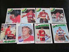LOT OF 8 DIFFERENT AUTOGRAPHED VINTAGE 1970'S ATLANTA FLAMES HOCKEY CARDS