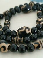 Tibetan Black & White Dzi Polished Agate Bead Necklace With 925 Silver Clasp