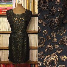 Vintage 1950 S/60 S or rose brocade Green Ajustée Robe Métallique UK 10-12 US 6-8
