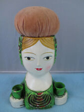 Vintage paper mache composition lady pin cushion spool holder