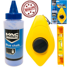 Chalk Line String Kit Reel Builders Spirit Level Blue Builder Set 15m 50ft 4oz