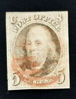 US SCOTT #1 FRANKLIN 1847 USED 4-MARGINS RED HANDSTAMP CXL NICE CLEAN!
