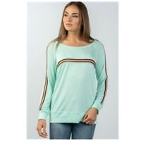 Long Sleeve Tee Pullover Top Shirt Mint Green Multicolor Stripe Womens L NWT