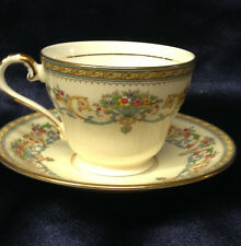 AYNSLEY ENGLAND HENLEY FOOTED CUP & SAUCER 8 OZ GREEN BACKSTAMP FLOWERS