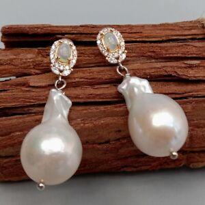 Freshwater Cultured White Keshi Pearl Natural Opal Stud Dangle Earrings