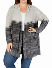 Style & Co. Womens Sweater Gray Size 2X Plus Cardigan Open Front Ombre $79 #393