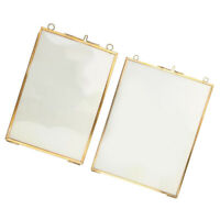 2x Cornice in vetro per foto in ottone anticato