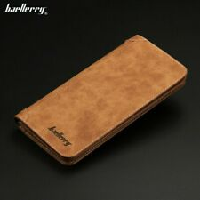 Men's Genuine Leather Long Wallet Pockets ID Card Clutch Bifold Purse Brown Gift