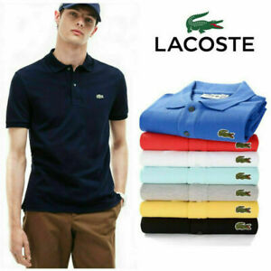 Men's Classic Lacoste1 Polo Tops Logo Cotton Short Sleeve Slim Fit Golf T-Shirt