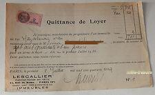 QUITTANCE de LOYER du 1er juillet 1945 + TIMBRE Fiscal de 2 francs - LESCALLIER