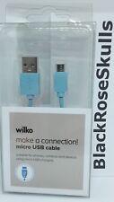 Micro USB Cavo Blu 1 METRI Caricabatteria/Sync/telefono/fotocamera/Dispositivo/Connessione/NUOVO
