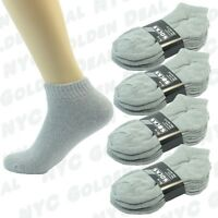 NEW 6 Pairs Mens Gray Sports Athletic Crew Socks Cotton LOW CUT Size 9-11 10-13