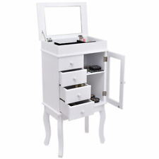 White Wood Jewelry Makeup Storage Cabinet Armoire Mirror Chest Stand Organizer