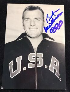 Bob Mathias Olympic Gold Medal Autographed Post Card Photo