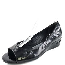 206ab96008b Cole Haan Black Patent Leather Open Toe Wedge Pump Sandals Women s Size 7.5  M