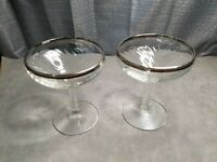 Two Vintage Champagne Glasses with Silver Trim, Swirl Design